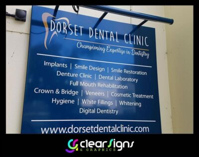 Aluminium Sign Tray with LED light fixed to the top - Dorset - Poole