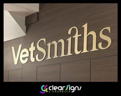 Brushed Gold Dibond Flat Cut Flush Fitted Wall Logo - Wimborne - Dorse (1) (1)