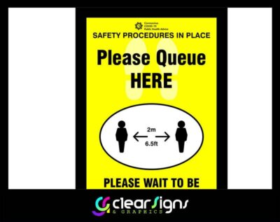 COVID 19 - Queue here, social distancing reminder, wait here - Poster Graphic (1)