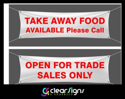 COVID 19 BANNERS - Open for Takeaways - Taking Order for Home Delivery - Open for Trade Sales Only