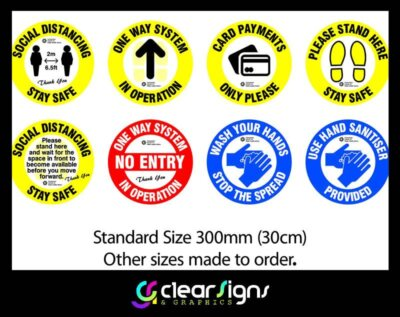 COVID 19 Self Adhesive Graphics - 2 Floor Stickers - Social Distancing - Use Hand Sanitiser - Queue System Graphics