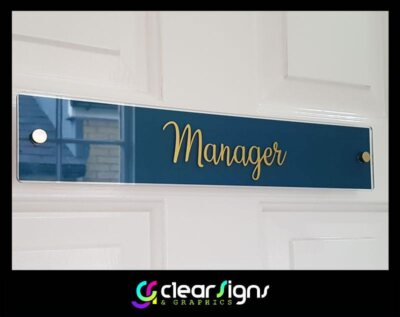 Clear Acrylic - Reverse Printed - Door Plaques - Gold Stand Off Fixings (1)