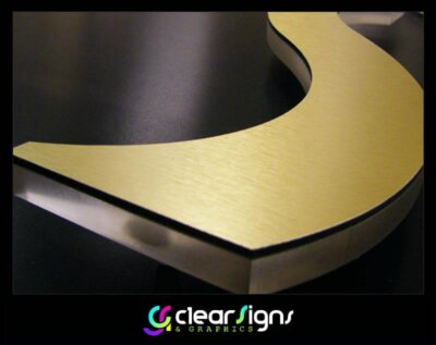 Clear Acrylic Letter with Brushed Aluminium Composite Face (1) (1)
