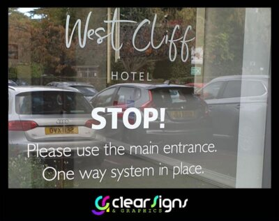 Entrance Door - window Graphics - One Way System in Place (1)