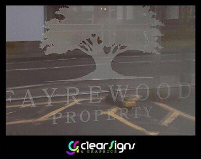 Fayrewood - Frosted Door Window Graphics - Verwood - Dorset - Manifestatios (1)