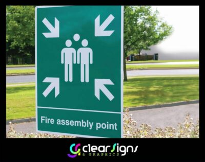 Fire Assembly Point Sign Post Mounted (1)