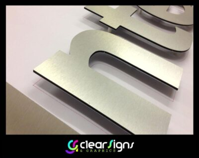 Flat Cut Brushed Stainless Steel Letters