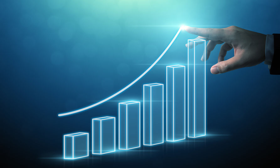 Business development to success and growing growth concept, Businessman pointing arrow graph corporate future growth plan