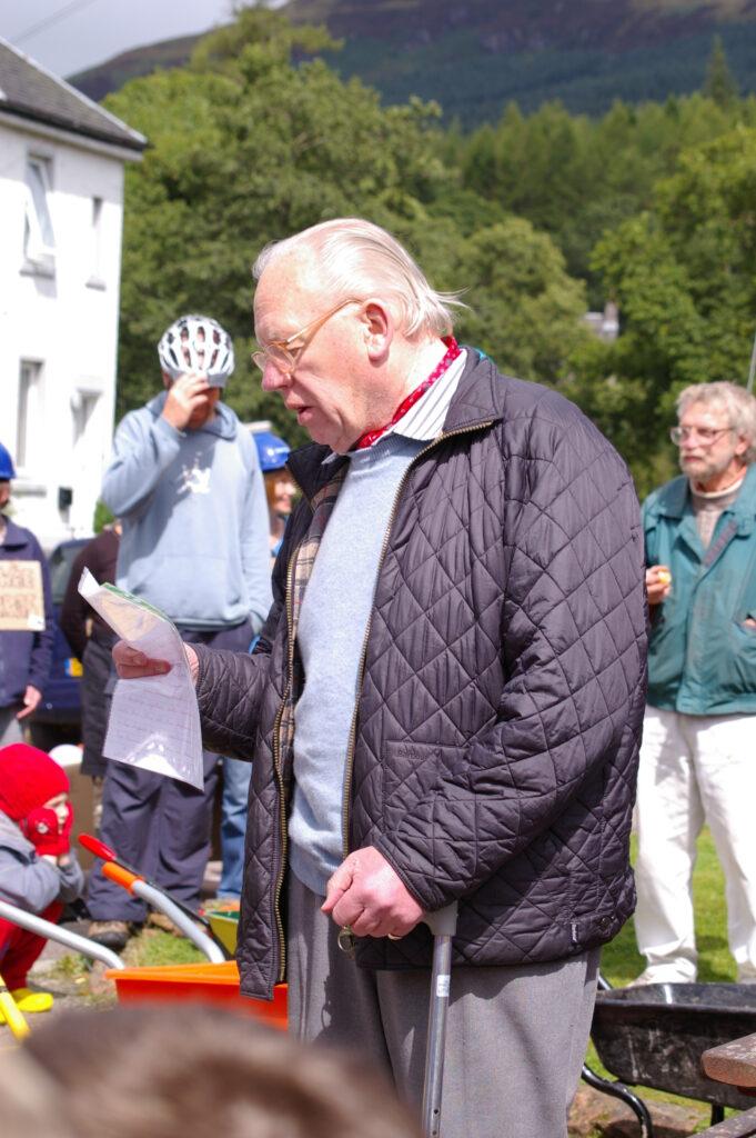 A man reading a speech