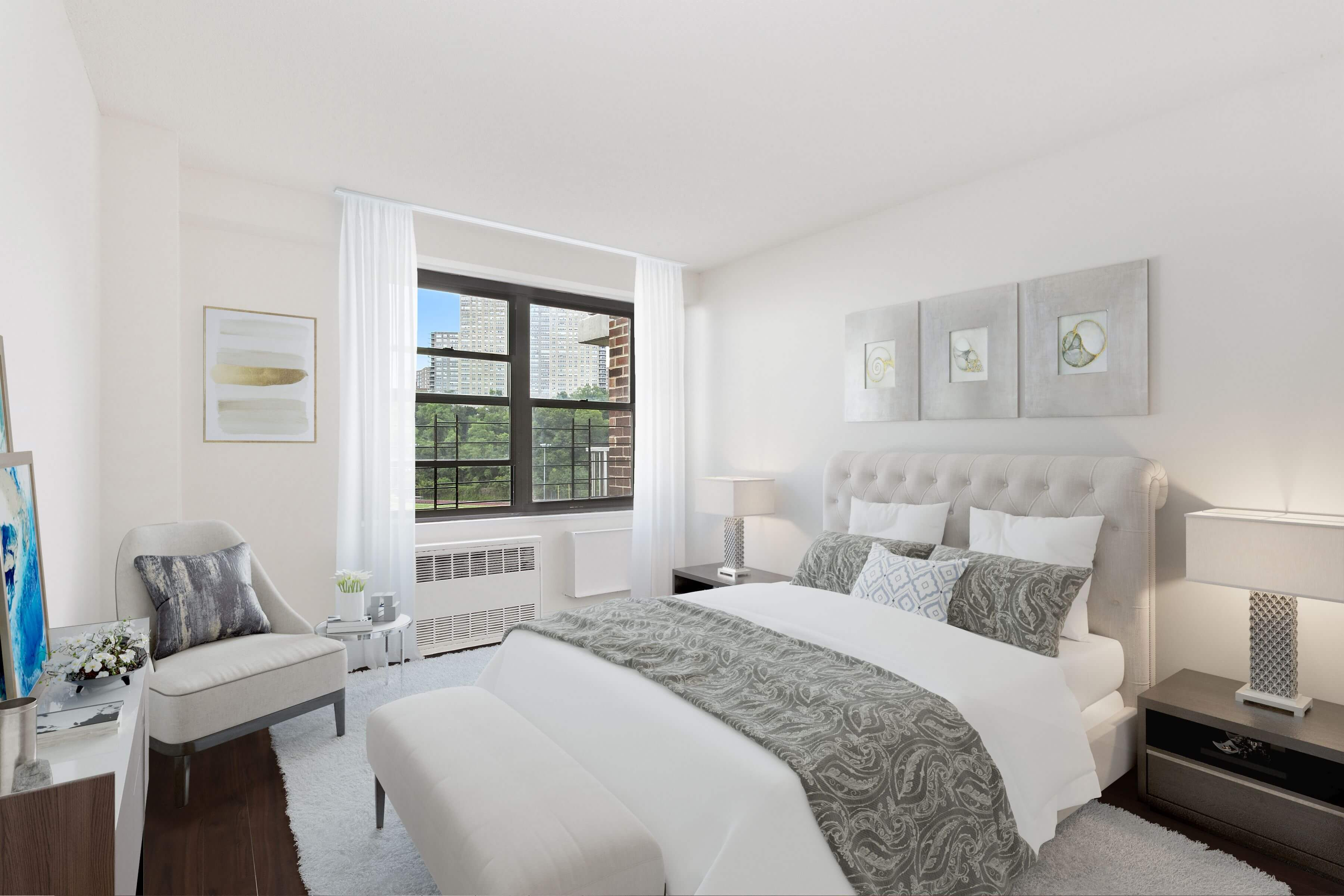 The Promenade Offers master suite that can accommodate king-size bedroom furniture, as seen here.