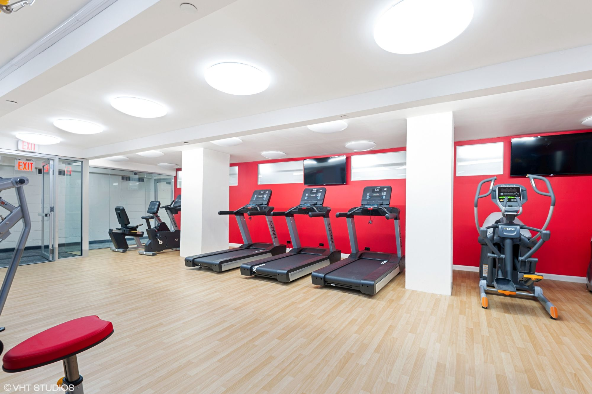 The fitness center at The Promenade, located in Marble Hill, is outfitted with state-of-the-art cardio machines, including new treadmills, elliptical, and recumbent bicycle.