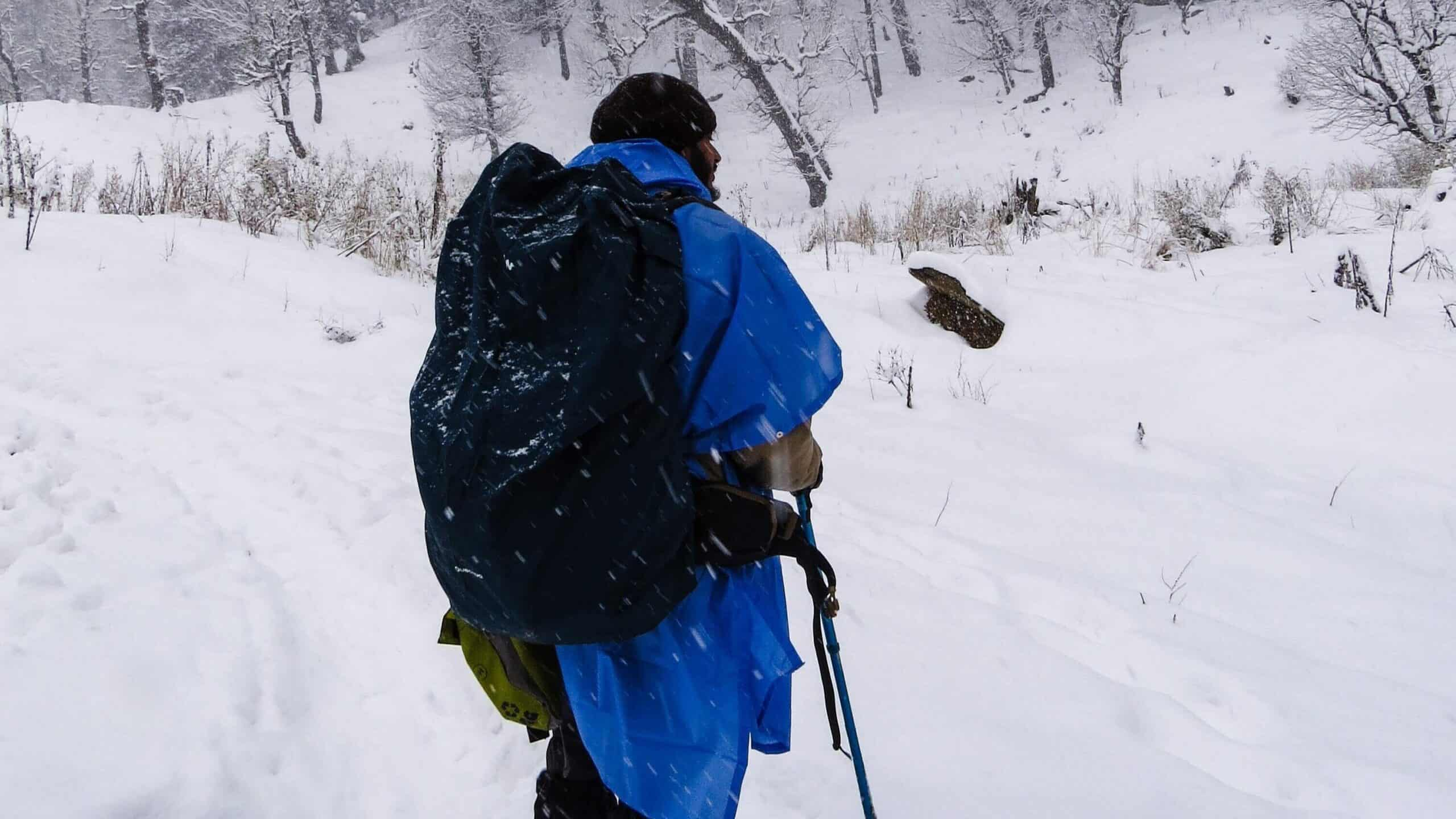 15 essentials you must have easy access to during a winter trek: Number 1 - poncho / waterproff jacket / rainwear
