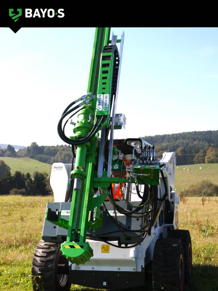 ground screw drilling mast fitted