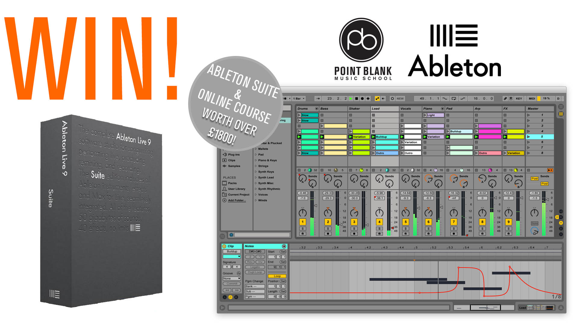 Subscribe to Point Blank Music and you could win a free copy of Ableton Suite & PB online course of your choosing.