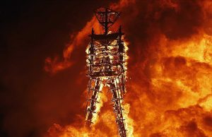 Man who jumped into Burning Man fire has died