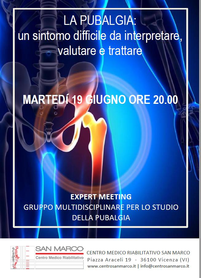 """Centro San Marco Vicenza. Convegno """"La Pubalgia: un sintomo difficile da interpretare, valutare e trattare"""" programma"""
