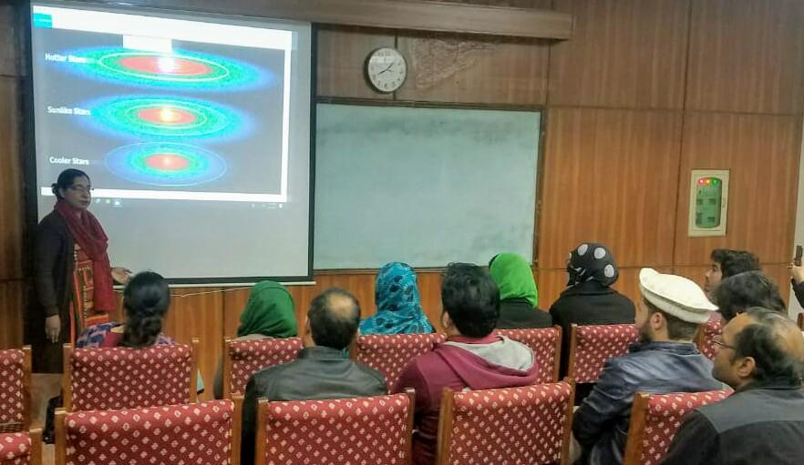 Dr Fariha delivering a lecture at Quad e Azam University Islamabad