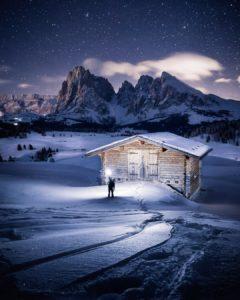 Nightscape & land exposure. Location: Dolomite, UNESCO