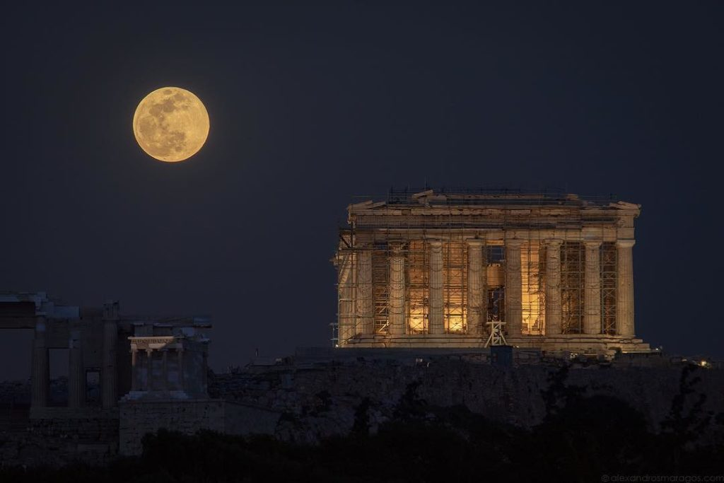 Alex Maragos captured the biggest supermoon of the year rising in Athens, Greece on Feb 19, 2019.