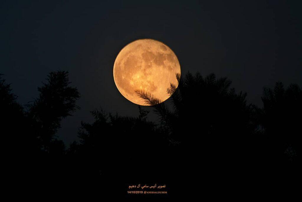 A beautiful Hunter's moon shining in the dark sky