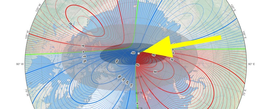 The magnetic north pole has moved on from the Canadian Arctic to Siberia  (NOAA NCEI/CIRES; ScienceAlert)