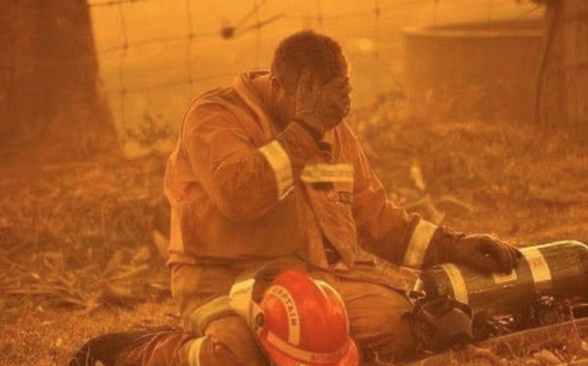 A desperate firefighter