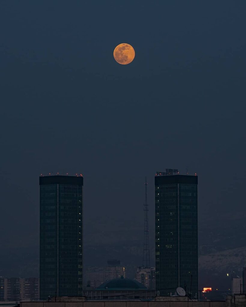 Bright Supermoon in Kazakhstan. Credit: Dmitry Dotsenko