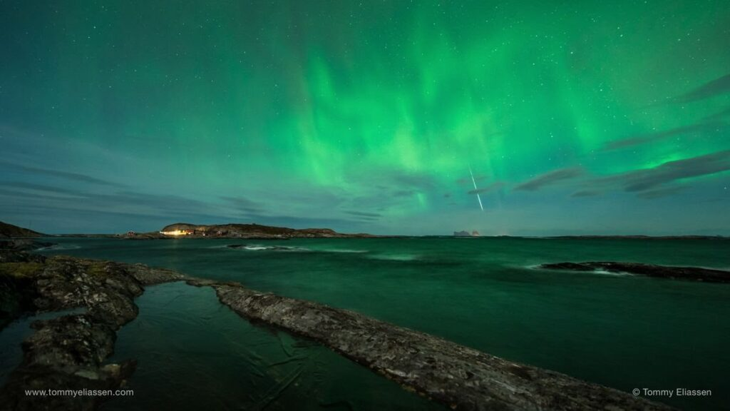 Night sky photographer Tommy Eliassen captured this stunning photo of the 2014 Geminid meteor shower on Dec. 12, 2014 as the northern lights danced over Lovund, Norway.