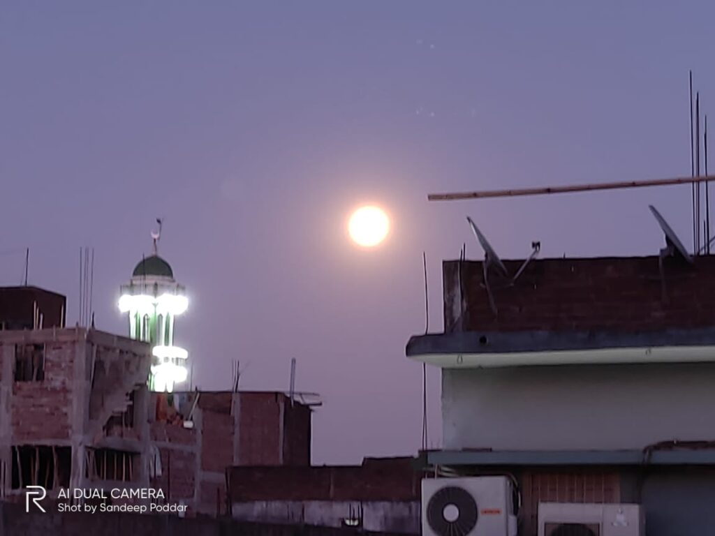 Supermoon in an urban area