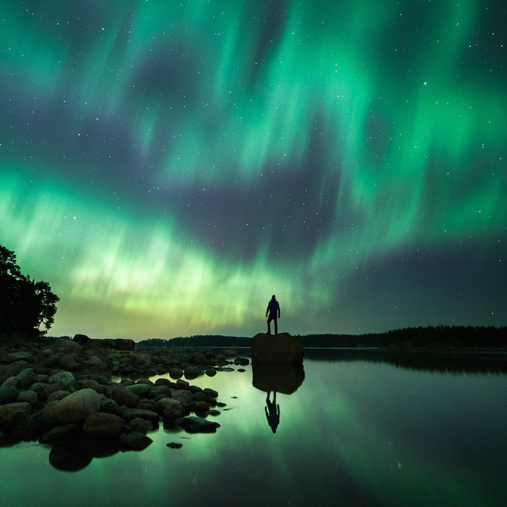 Auroras can be seen with startling clarity in this gorgeous image by  Mikko Lagerstedt who has quite a marvelous collection of astrophotographs