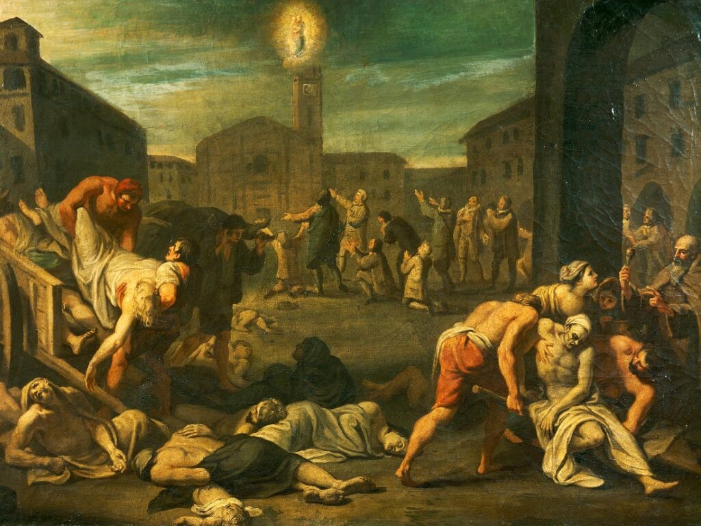 A painting that depicts the horrors of plague in Italy in the 17th century