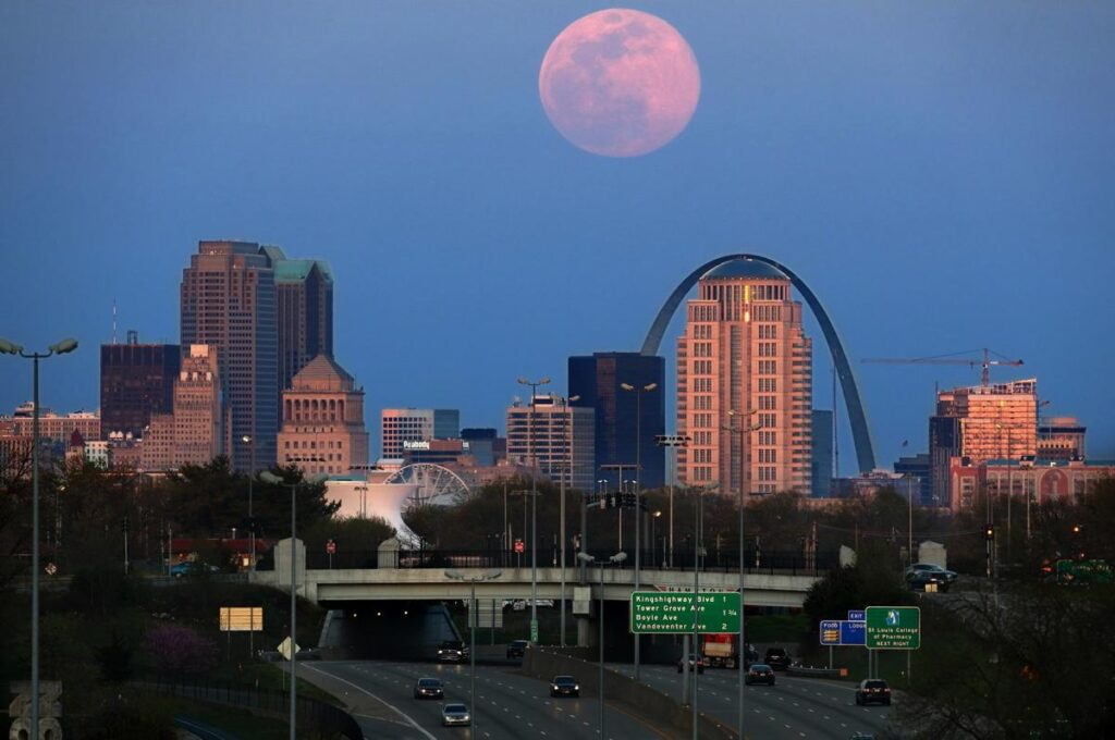 St. Louis The pink supermoon rises over St. Louis on Tuesday, April 7, 2020