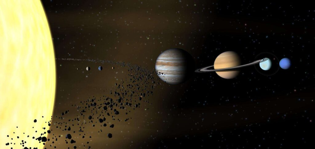 The asteroid belt lies between Mars and Jupiter.