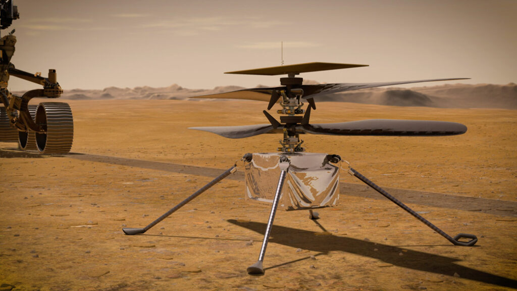 An illustration of NASA's Ingenuity Mars Helicopter. Credits: NASA/JPL-Caltech