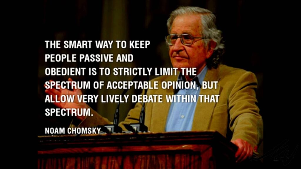 "Chomsky's quote on ""Debate Spectrum"". Credits: Noam Chomsky, Book: The Common Good, 1998"