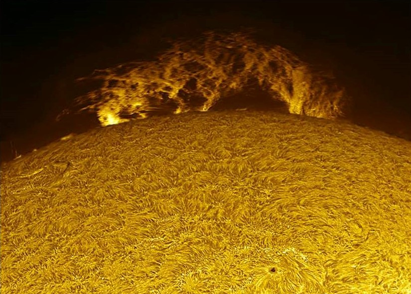 Picture of a hanging prominence on the chromosphere of the Sun. Taken with a 152mm hydrogen-alpha telescope by Umair Asim