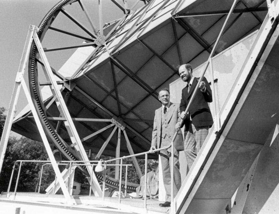 Penzias and Wilson stand at the 15 meter Holmdel Horn Antenna that brought their most notable discovery. Credits: ESA