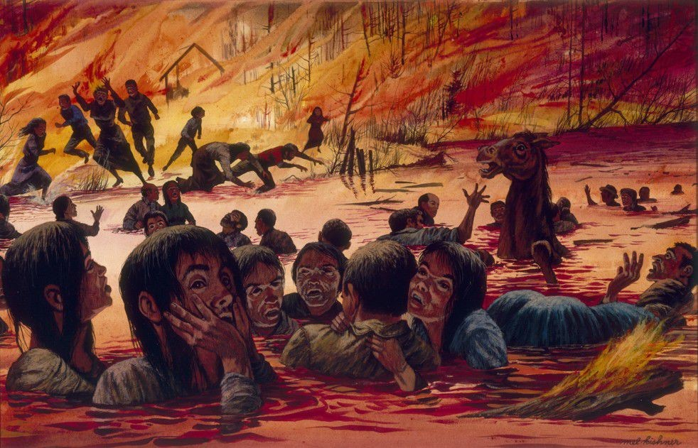 A painting by Mel Kishner of the 1871 Peshtigo fire, the deadliest in U.S. history. (Wisconsin Historical Society) Image Source:  The Washington Post