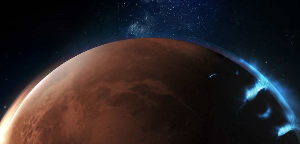 An artist's depiction of the discrete aurora on Mars. (Image credit: Emirates Mars Mission)