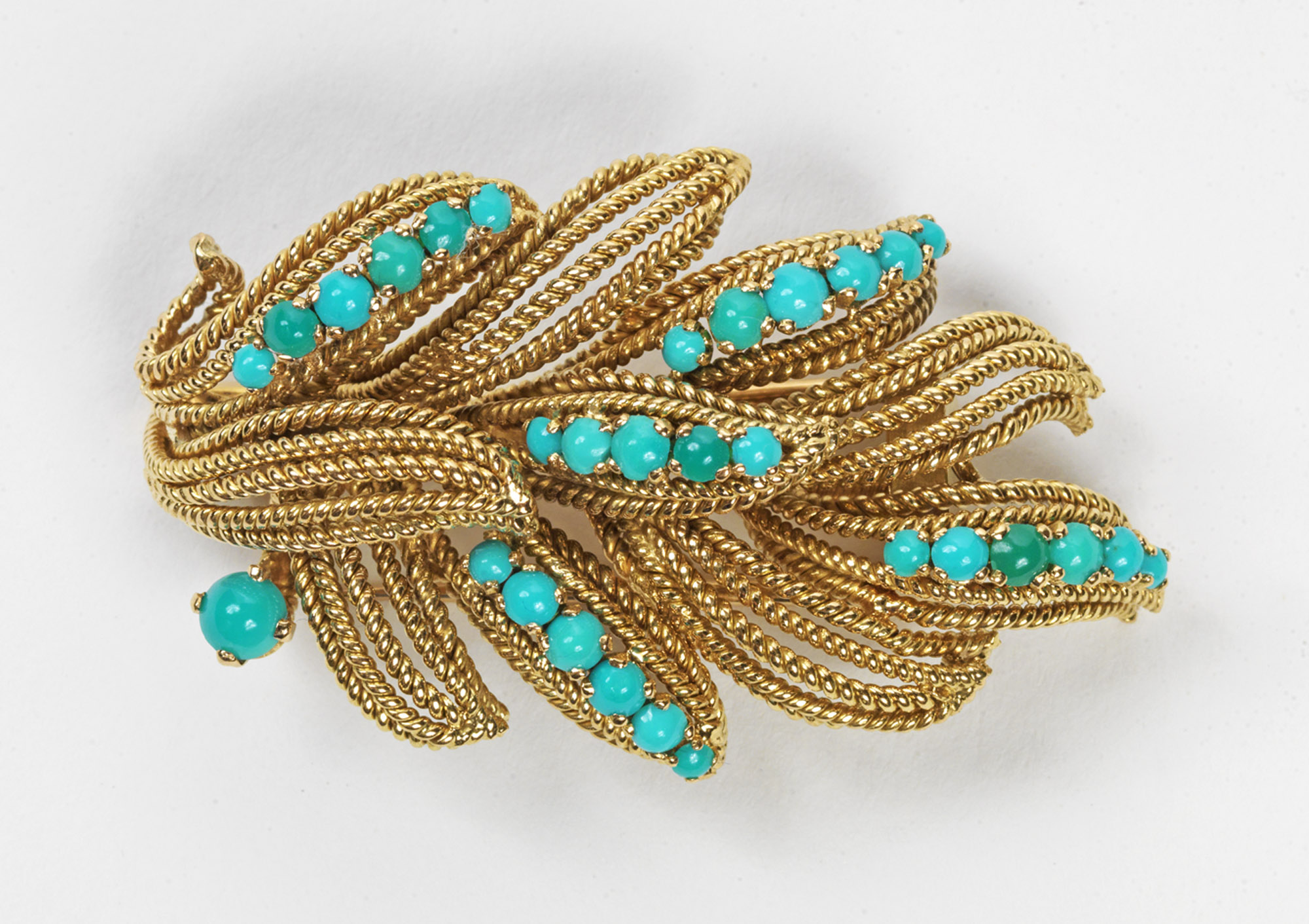 Vourakis - Rope-twist leaves set with turquoise brooch