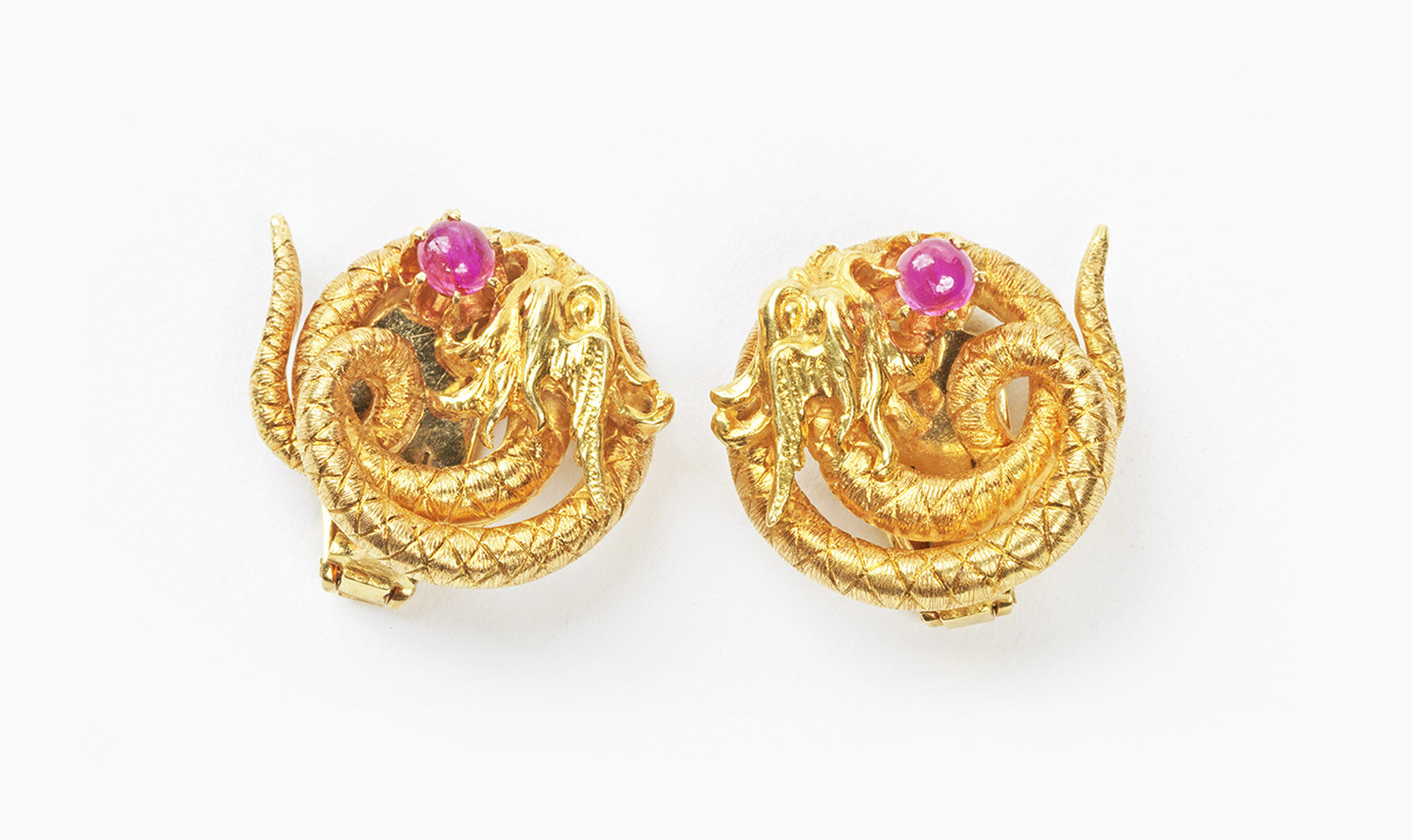 Ilias Lalaounis - Pair of ruby, dragon shaped earrings