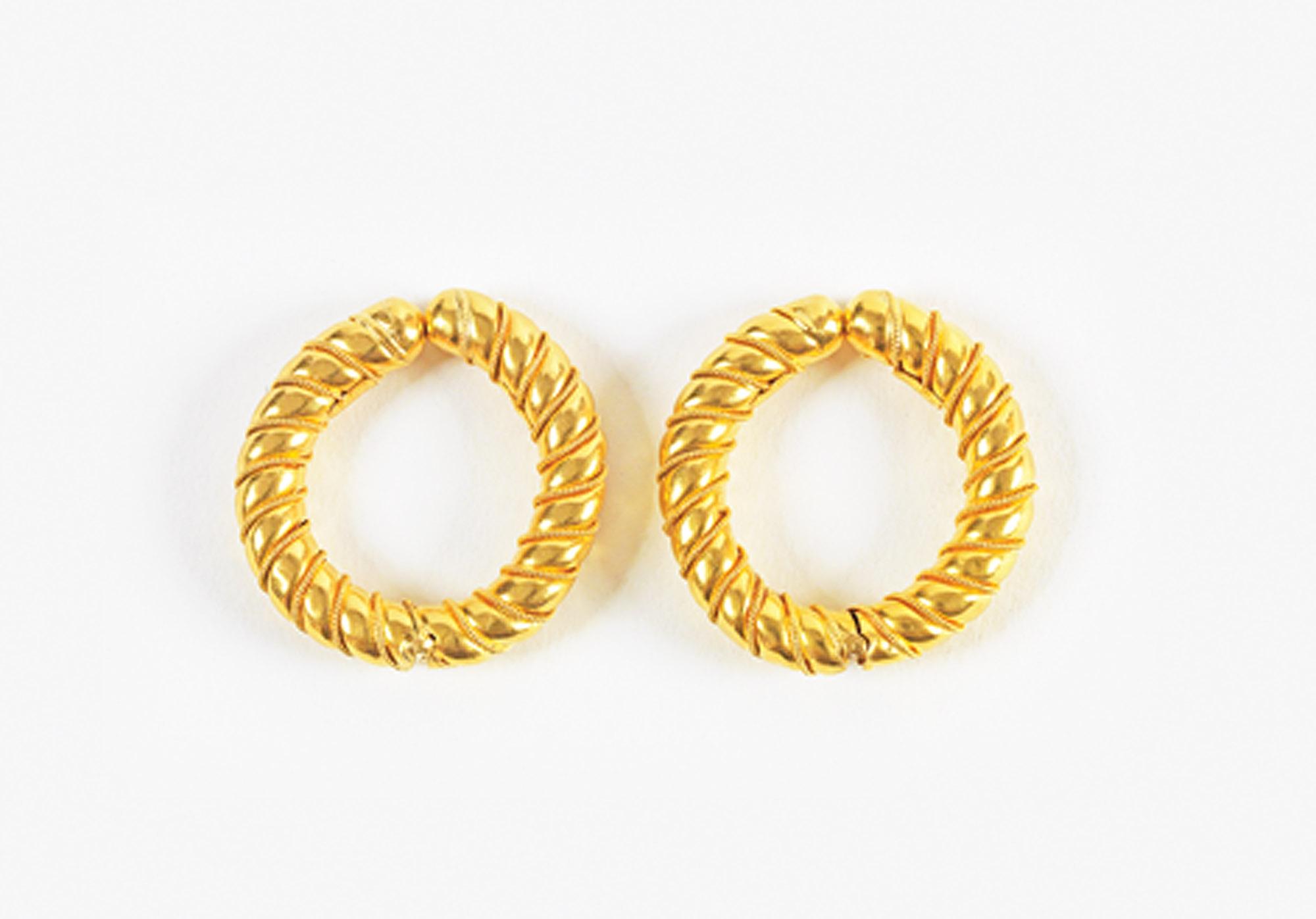 Ilias Lalaounis - Pair of rope-twist hoop earrings