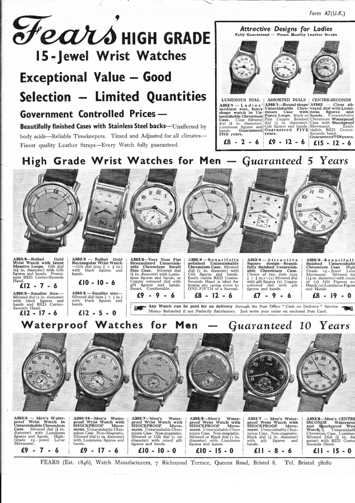 Fears centenary advertisement showing the full range