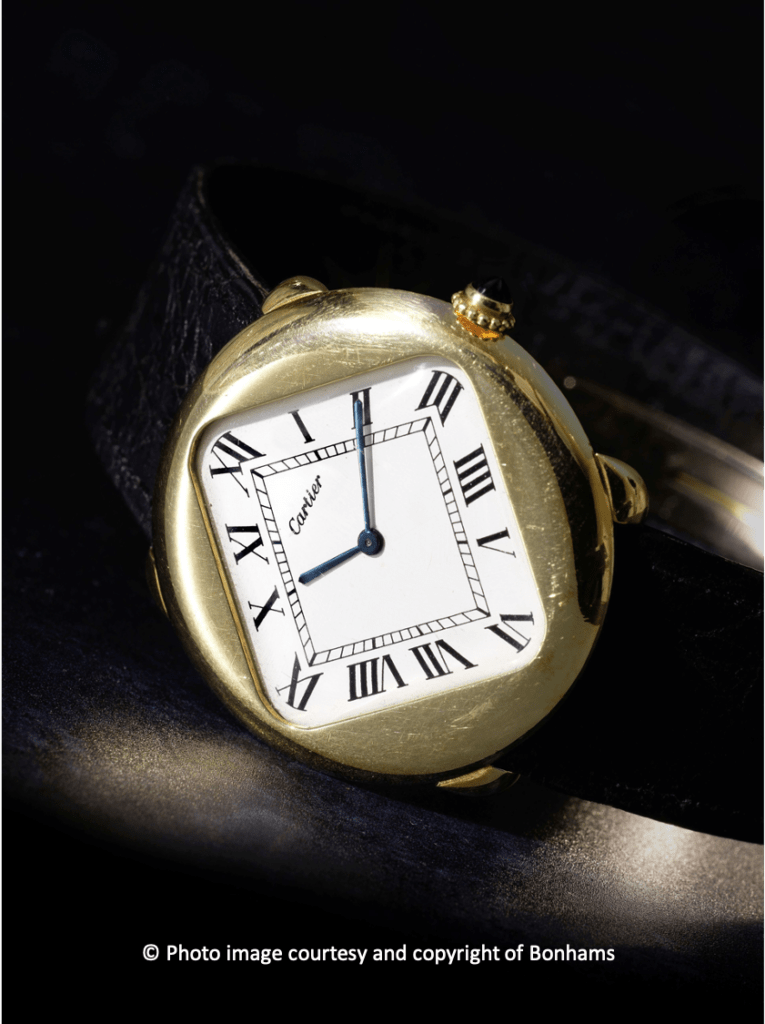 Rare And Stylish 1970's Cartier Pebble 'Turtle' Watch Auctioned By Bonhams
