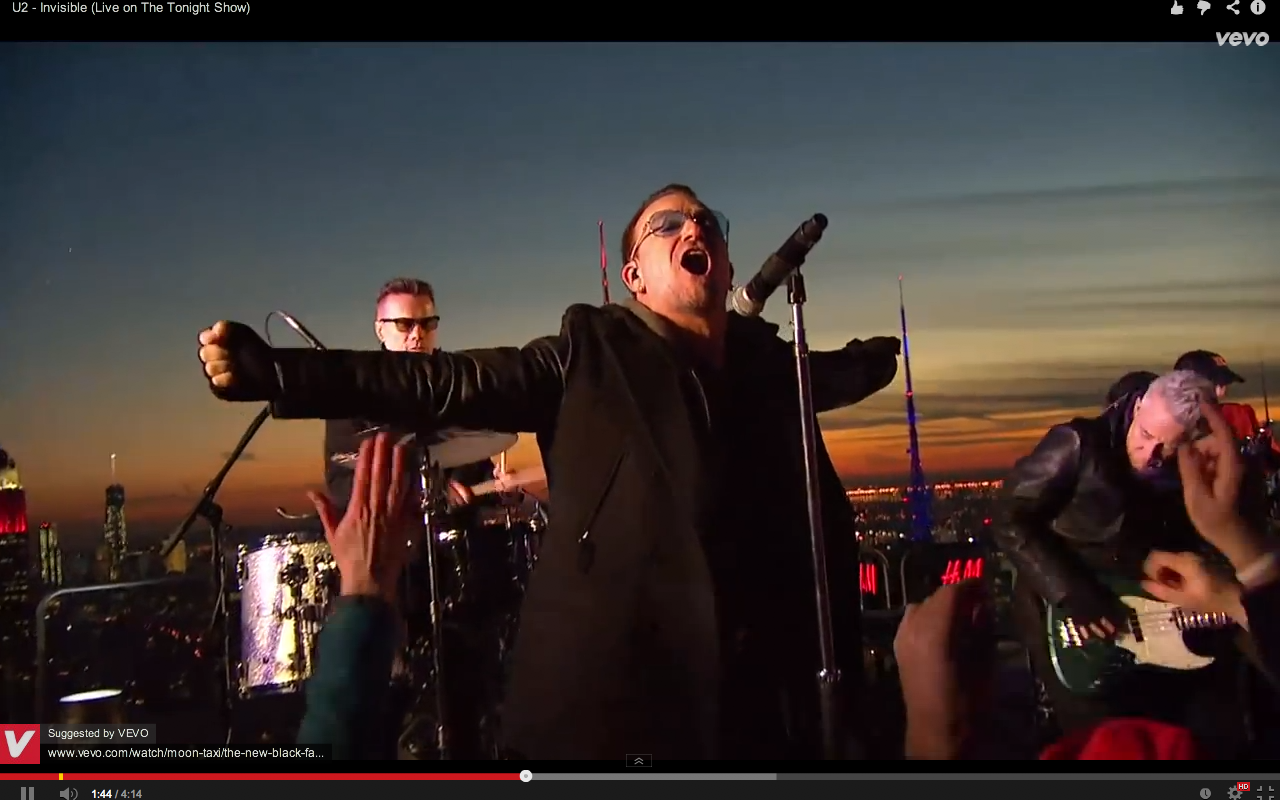 Video screen grab 5 of U2 performing Invisible on The Tonight Show with Jimmy Kimmel