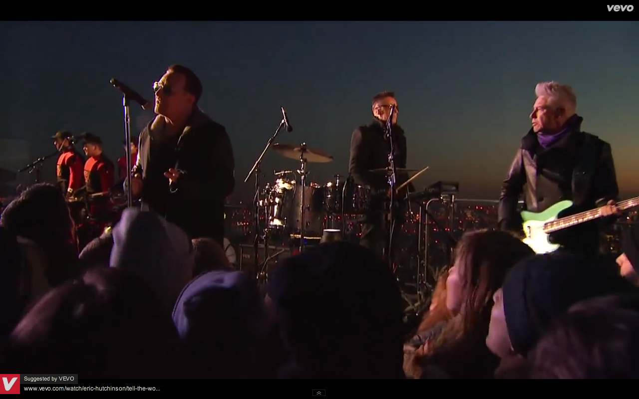 Video screen grab 6 of U2 performing Invisible on The Tonight Show with Jimmy Kimmel