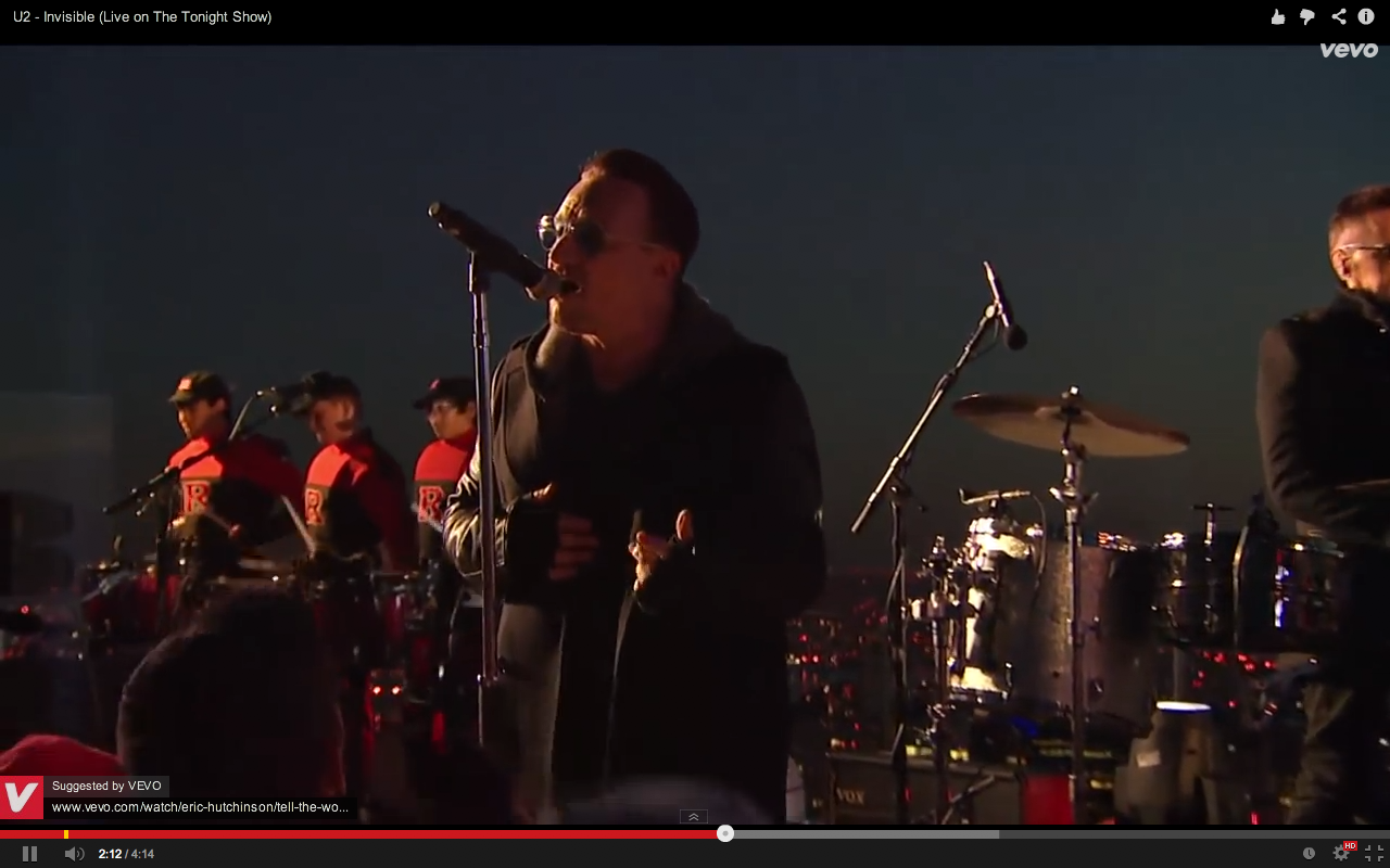 Video screen grab 7 of U2 performing Invisible on The Tonight Show with Jimmy Kimmel