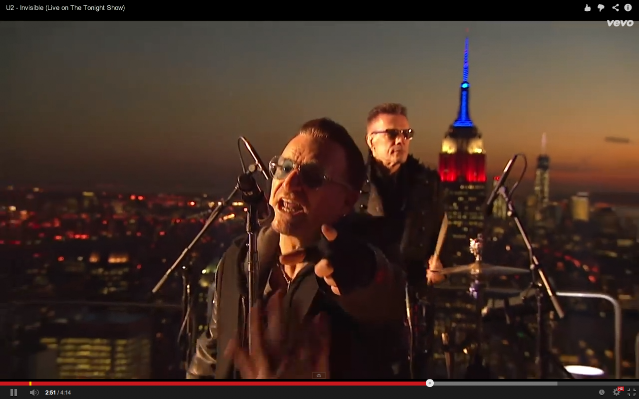 Video screen grab 9 of U2 performing Invisible on The Tonight Show with Jimmy Kimmel