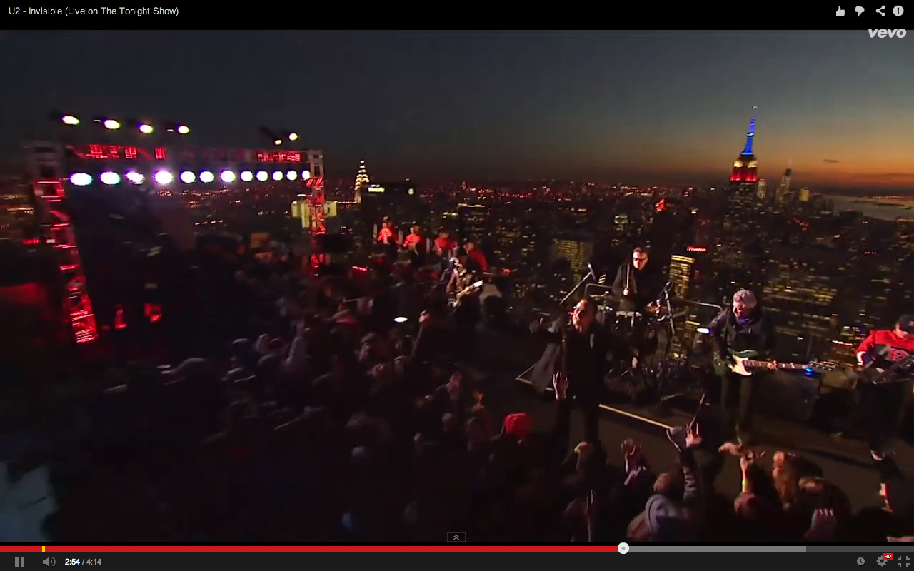 Video screen grab 10 of U2 performing Invisible on The Tonight Show with Jimmy Kimmel