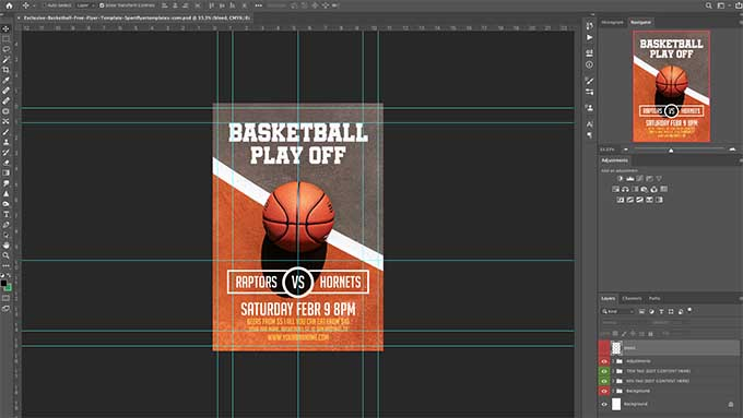 basketbal template in photoshop